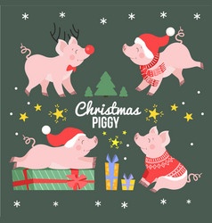 cute christmas pig set new year winter piggy vector image