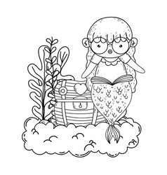 Cute mermaid with treasure chest in clouds vector