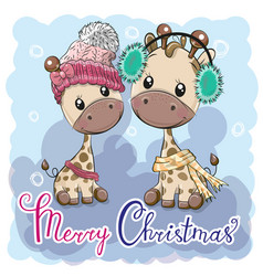 Cute winter giraffes boy and girl vector
