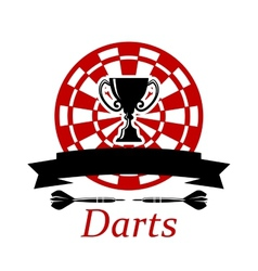 Darts emblem with trophy cup vector image