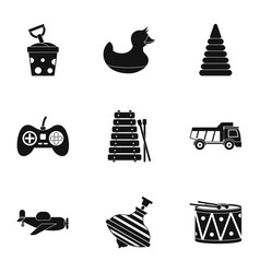 different kids toys icon set simple style vector image