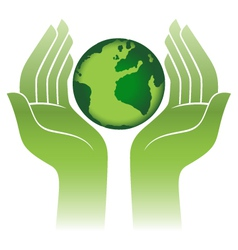 Earth protected hands abstract sign vector