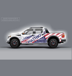 Editable template for wrap suv with usa flag decal vector
