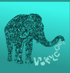 elephant in asian style mandala pattern on blue vector image