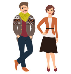 Fashion couple in casual clothes vector