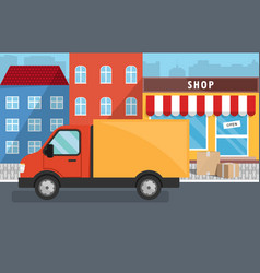 flat of delivery service for store vector image