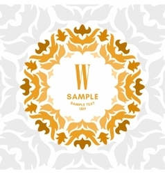 Floral Luxurious Logo Monogram Golden on White vector image