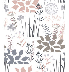 floral seamless pattern with doodle plants vector image