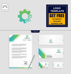 Gear and business chart logo template and vector