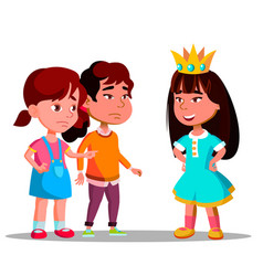 Girls look with envy at girl in crown standing vector