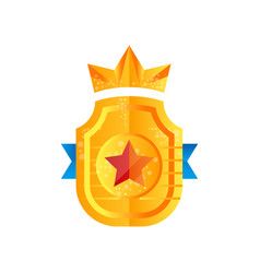 golden shield award with crown heraldic symbol vector image