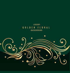 Green background with golden floral design vector