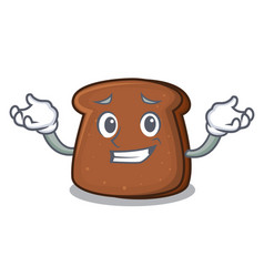 grinning brown bread character cartoon vector image
