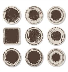 grunge round paper stickers 2 vector image