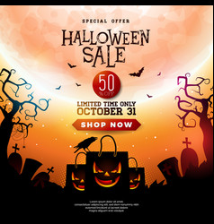 halloween sale with scary faced vector image