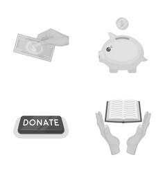 hand with money for poshestvovaniya a piggy bank vector image