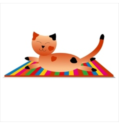 happy cat has a rest vector image