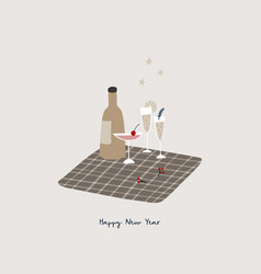 Happy new year greeting card invitation bottle vector