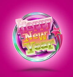 Happy New Year lettering circle Modern calligraphy vector image