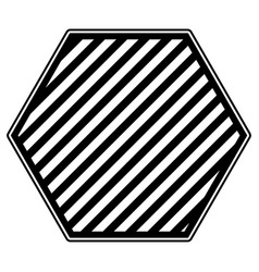 hexagon emblem in monochrome and striped vector image