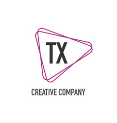 initial letter tx triangle design logo concept vector image