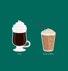 Irish and iced coffee drinks cartoon vector