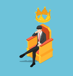 isometric businessman sitting on throne with vector image