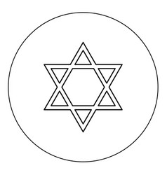 jewish star of david icon black color in circle vector image