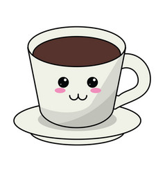 Kawaii coffee cup plate vector