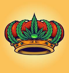 king kush logo isolated cannabis crown vector image