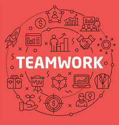 linear teamwork vector image