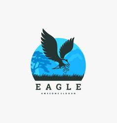 logo eagle silhouette style vector image