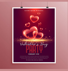Lovely valentines day bubble hearts flyer template vector