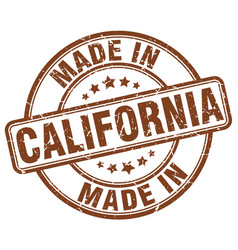 Made in california brown grunge round stamp vector