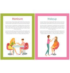 Makeup and visagiste manicure manicurist posters vector