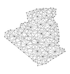 Map of algeria from polygonal black lines and dots vector