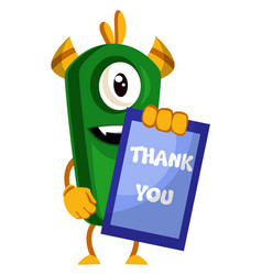 monster with thank you sign on white background vector image