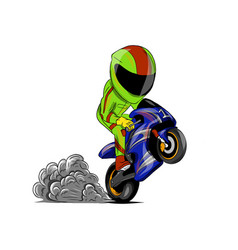 Motorcyclist prancing with his bike vector