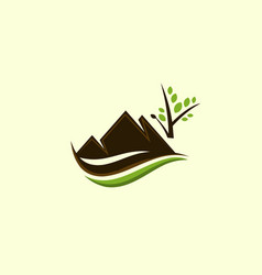 mountain wildlife landscaping logo vector image