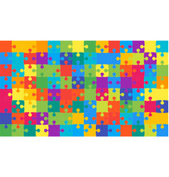 Multicolor puzzles pieces jigsaw - vector