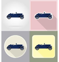 old retro transport flat icons 02 vector image