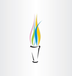 olympic fire torch colorful flame icon vector image