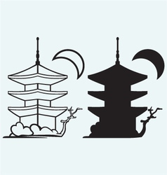 Pagoda Japan architecture silhouette vector image