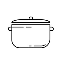 Pan with separate lid linear icon saucepan and vector