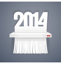 Paper 2014 is Cut into Shredder on Gray vector image