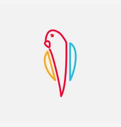 Parrot bird abstract color line logo design simple vector