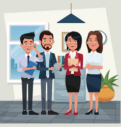 people working at office vector image