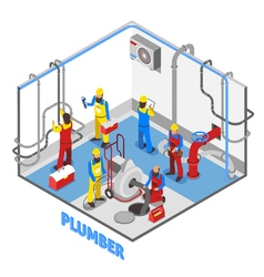 Plumber Isometric People Composition vector image