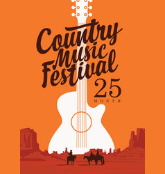poster for country music festival with a guitar vector image