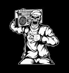 Rapper skull holding a boombox vector